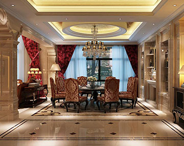 夢湖香郡灝26棟別墅-歐式古典風格裝修案例